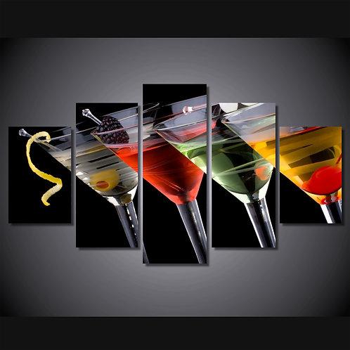 Cocktail Party Bar - 5 Piece Canvas Set