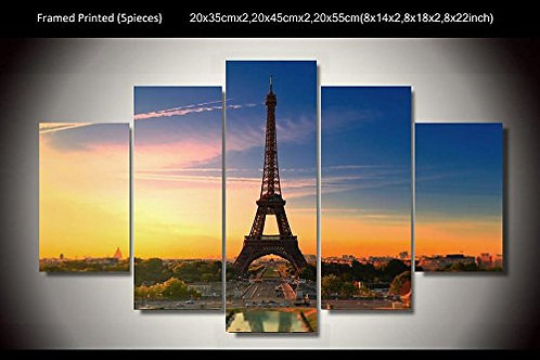 Paris - Eiffel Tower - 5 Piece Canvas Set
