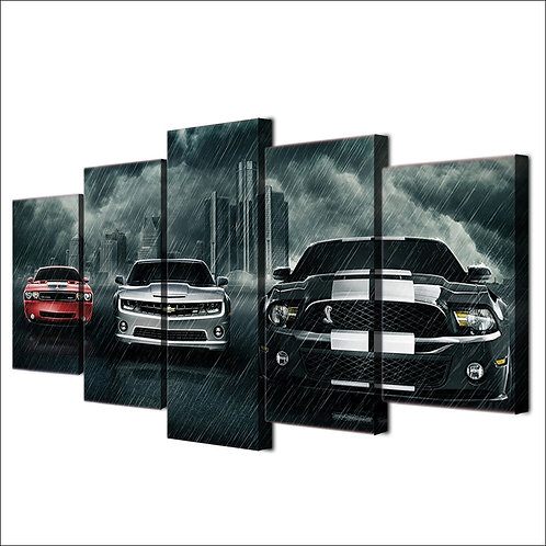 Super cars Dodge challenger Chevrolet Camaro Ford Mustang Shelby Print 5 pieces