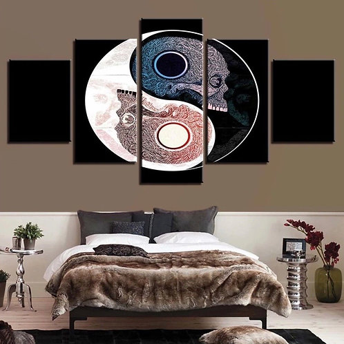 Yin and yang framed print canvas 5 pieces