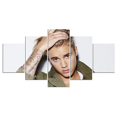 Justin Bieber 5 piece print framed canvas