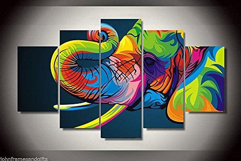 Colorful Elephant  - 5 Piece Canvas Set