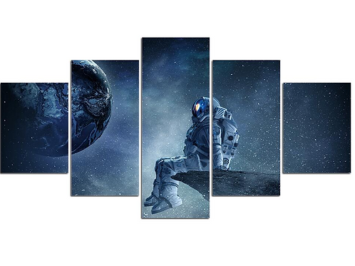 Astronaut space Art print on a canvas 5 pieces