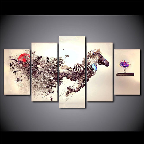 Zebra Abstract - 5 Piece Canvas Set