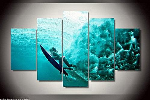 Surfing  - 5 Piece Canvas Set