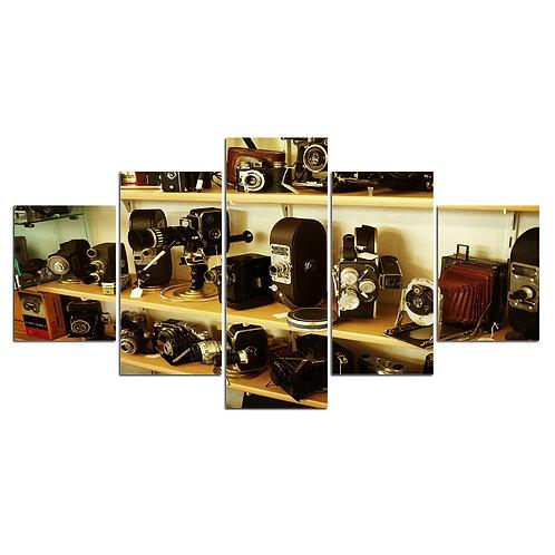 Photo cameras vintage print canvas 5 pieces