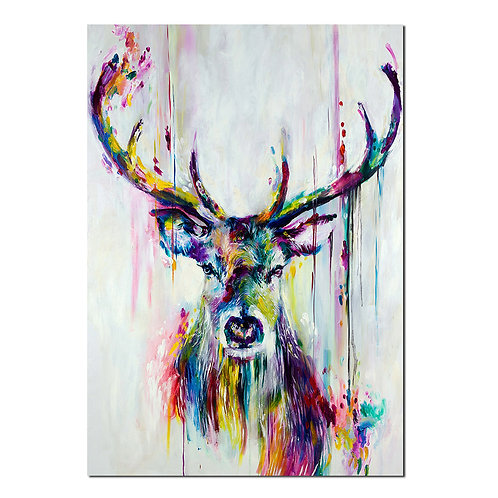 Deer animal colourful abstract -1 piece canvas