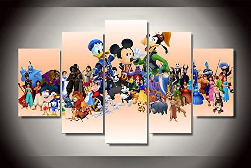 Cartoon Disney characters print poster canvas 5 pieces