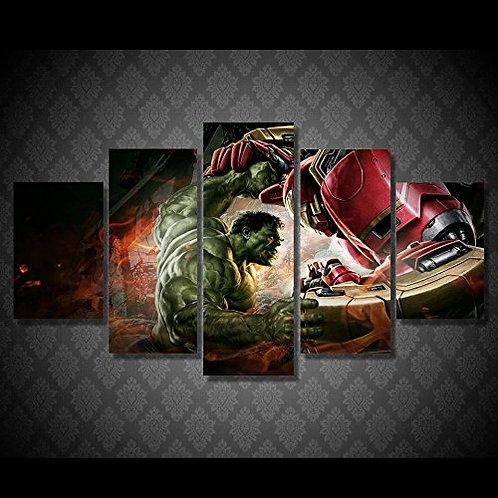 Hulk vs Iron Man  - 5 Piece Canvas Set