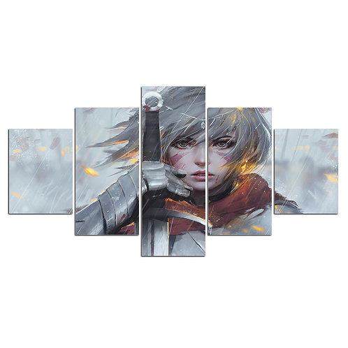 Woman with a sword anime - 5 Piece Canvas