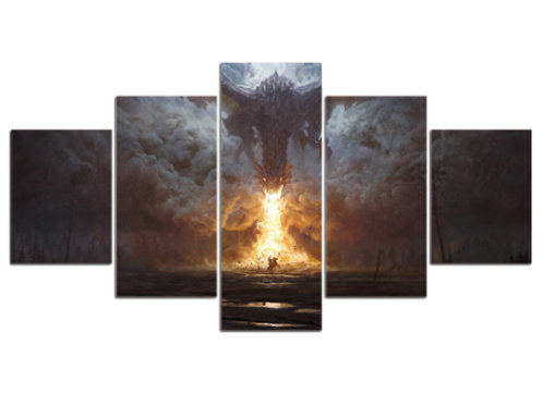 Dragon 5 piece print framed canvas wall art