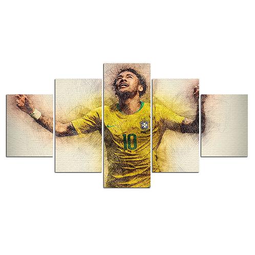 Neymar soccer player print canvas 5 pieces