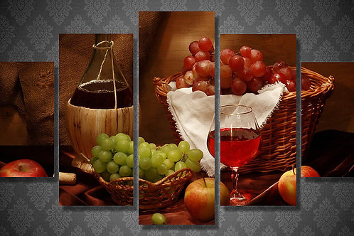 Wine and Fruits - 5 Piece Canvas Set