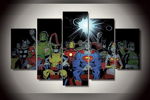Heroes Watching Cinema - 5 Piece Canvas Set