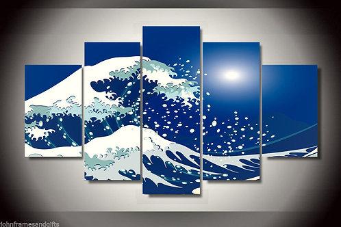 Great Wave off Kanagawa - 5 Piece Canvas Set