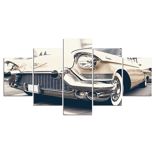 Car old vintage 5 piece print framed canvas wall art