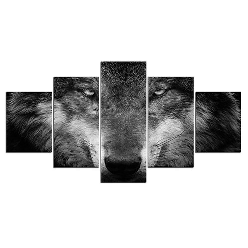 Wild wolf print canvas 5 pieces