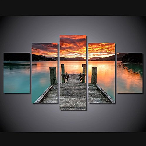 Lake Sunset - 5 Piece Canvas Set