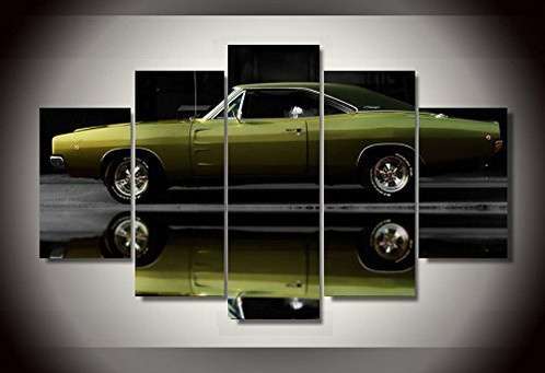 Dodge charger car print canvas decoration 5 pieces | Framed Canvas ...