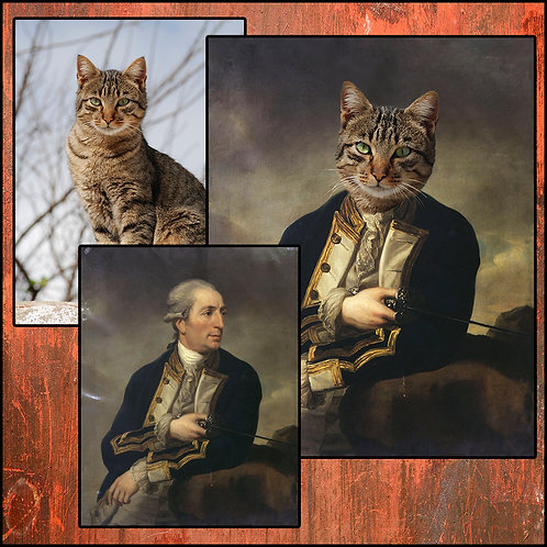 The Noble custom made pet portrait framed canvas
