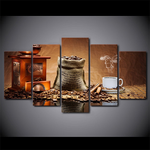 Coffee Beans and Coffee Cups - 5 Piece Canvas Set