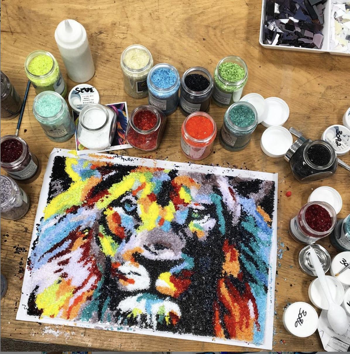 Frit Painted Lion