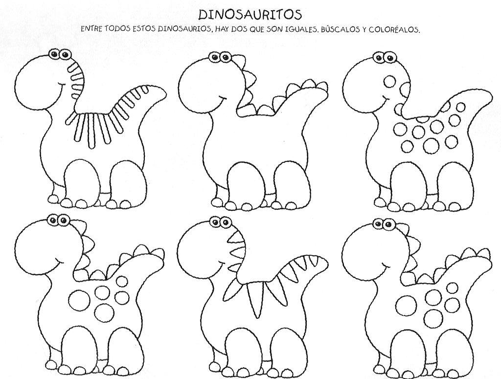 Pinte os dinossauros iguais