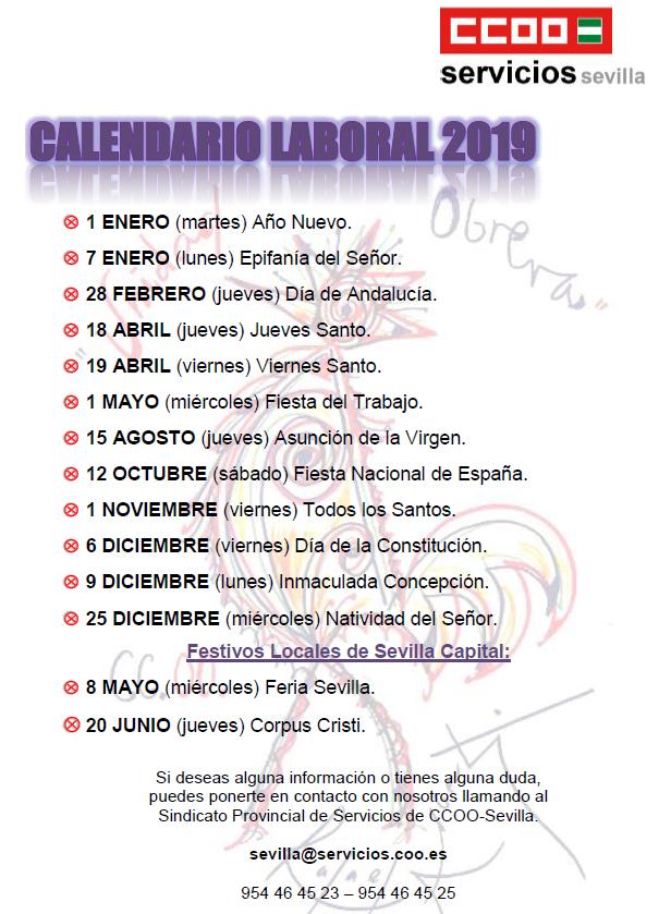 Calendario Con Santos.Calendario Laboral 2019