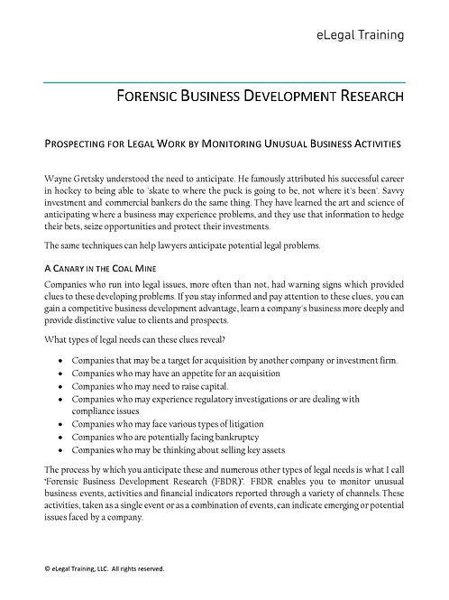 Forensic Business Development Research. Finding Hidden BD Opportunities