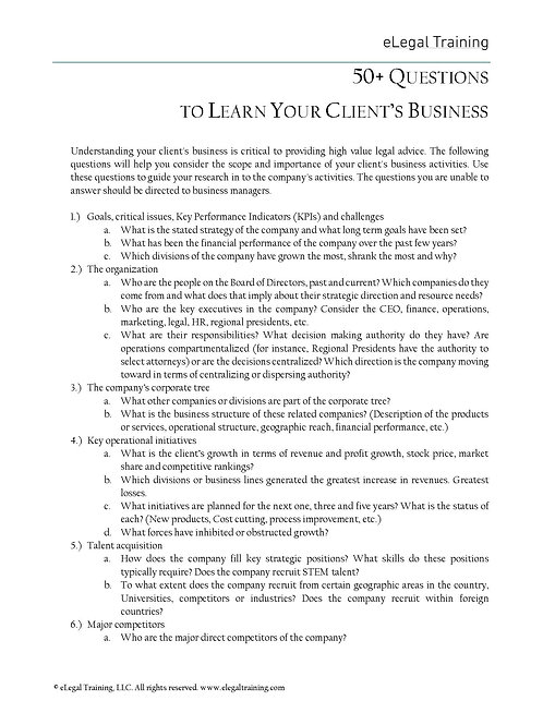 50+ Questions to Learn Your Client's Business