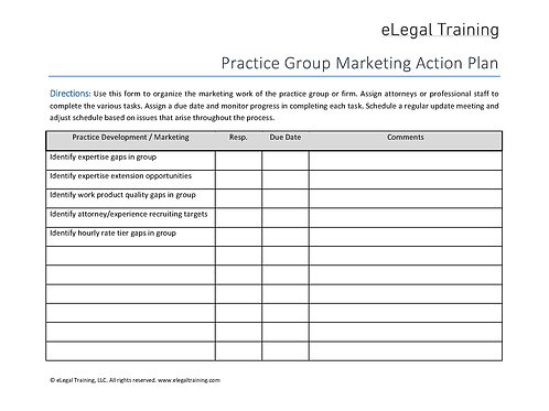 Practice Group Marketing Action Plan