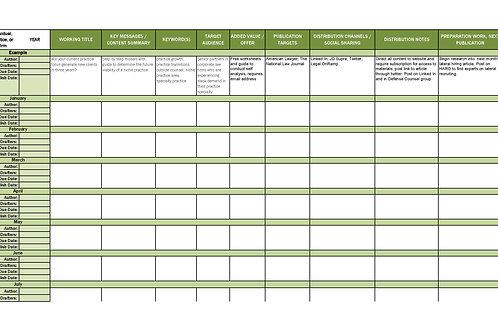 Content Marketing Plan Calendar