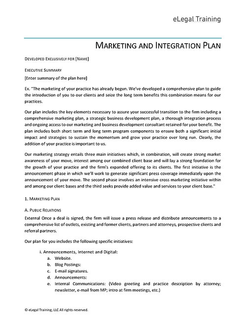 Template, Lateral Marketing and Integration Plan Proposal