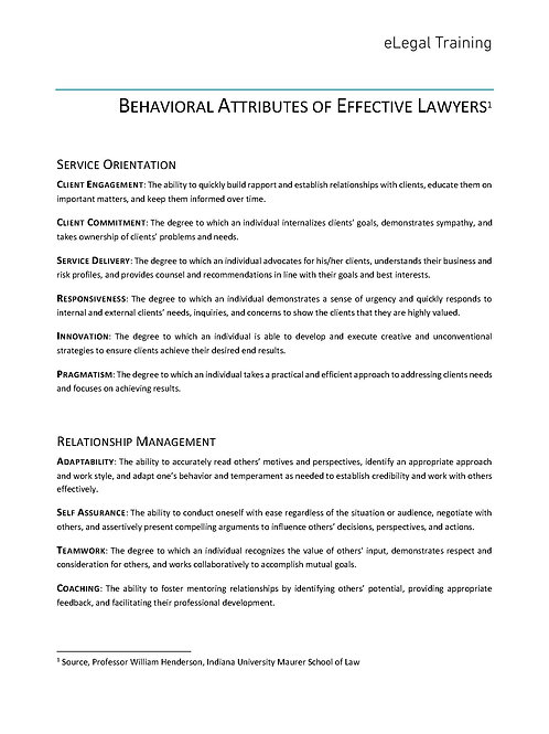 Behavioral Attributes of Lawyers