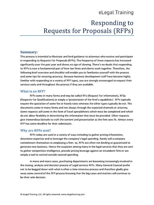 Request For Proposal Process Checklist