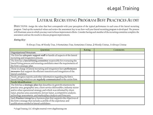 Lateral Recruiting Program Best Practices Audit
