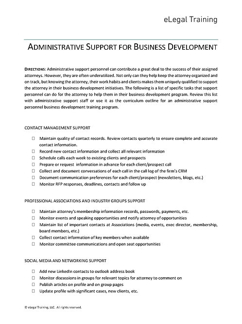 Administrative Support for Business Development