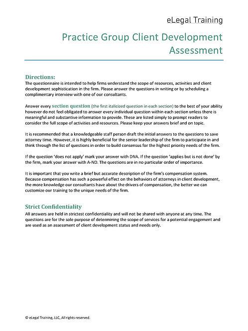 Practice Group Client Development Assessment
