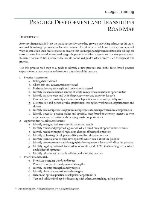 Practice Development and Transitions Road Map