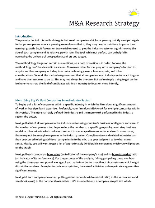 Mergers & Acquisitions Opportunity Research Methodology