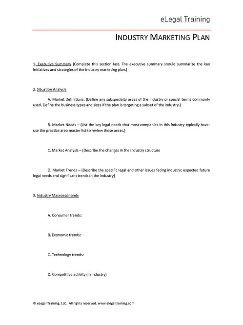 Industry Group Marketing Plan Template