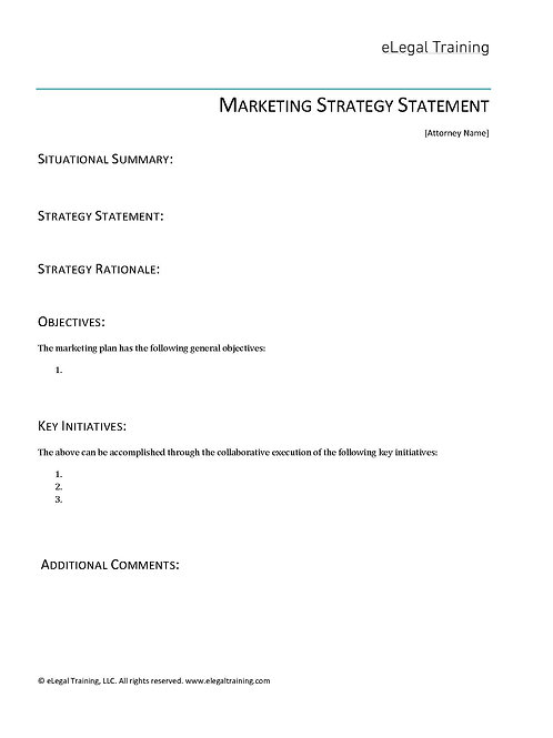 Marketing Strategy Statement, Template