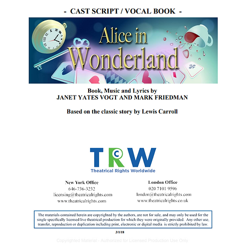 Alice in Wonderland script (Printed)
