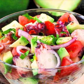 Octopus, Avocado & Strawberry Salad by Miquel Coca i Fito