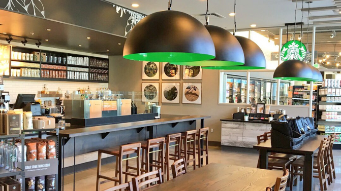 Interior Design and Lighting for Starbucks @ 1855 Place