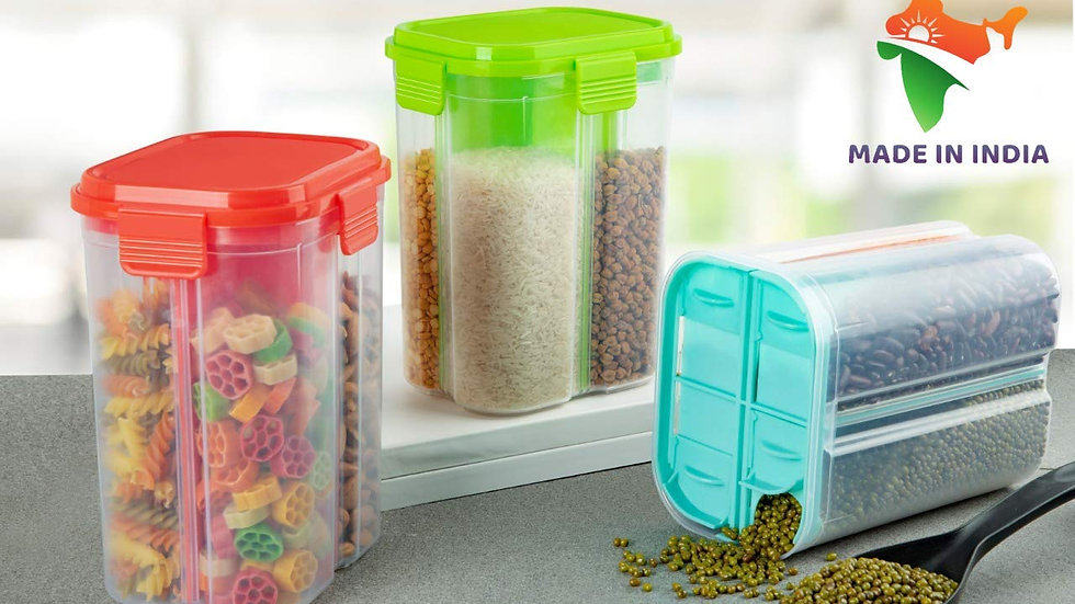 4 Sections Air Tight Transparent Food Container with Lid, 2000ml