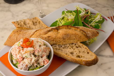 Avocado & Crab Salad with Crispy Baguette