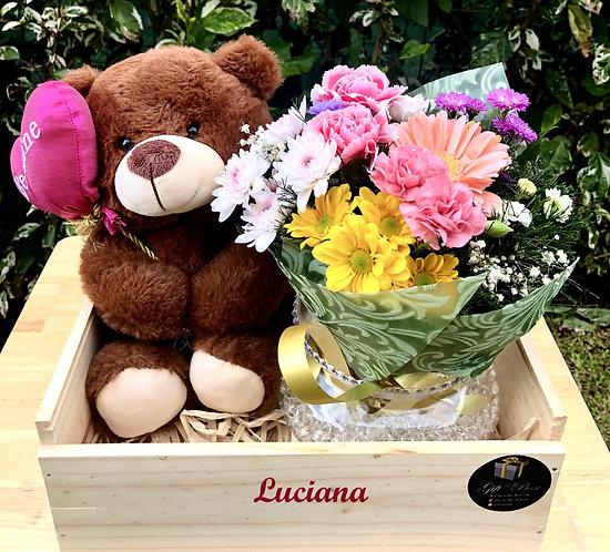 Teddy & Flowers Box