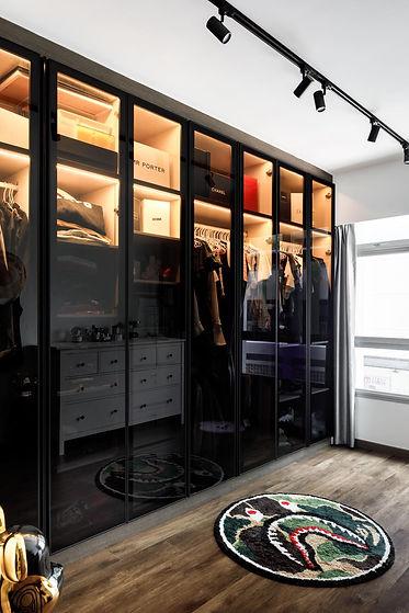 Closet con cristal templado y ahumado