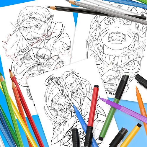 Anime Downloadable Colouring Pages